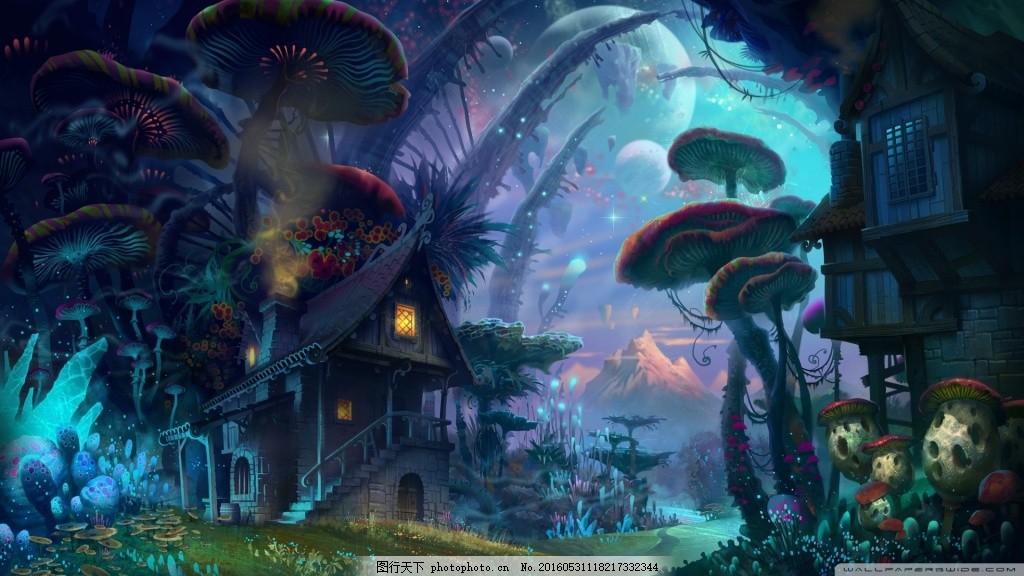蘑菇森林背景 魔幻 蘑菇 森林 小屋 卡通 手绘 科幻 梦幻