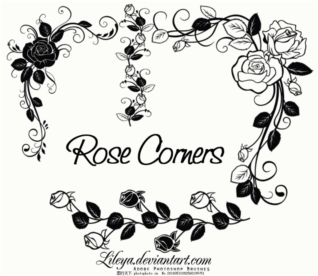 时尚的玫瑰花藤蔓ps笔刷