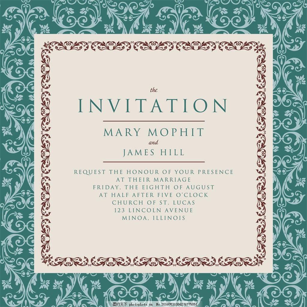 古典欧式花纹 婚礼 卡片 婚礼名片 结婚请柬 邀请函 请帖请柬