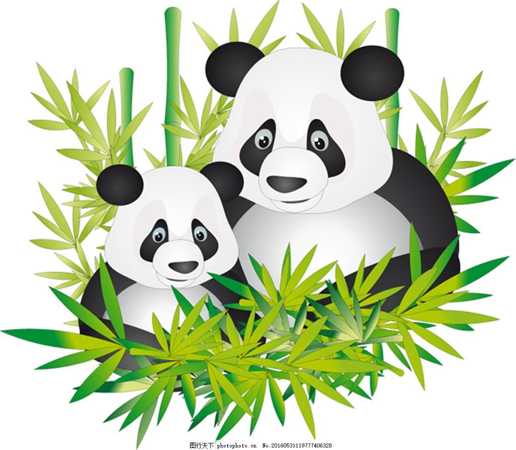 手掌 竹子 可爱熊猫 手绘熊猫眼睛 黑白配色