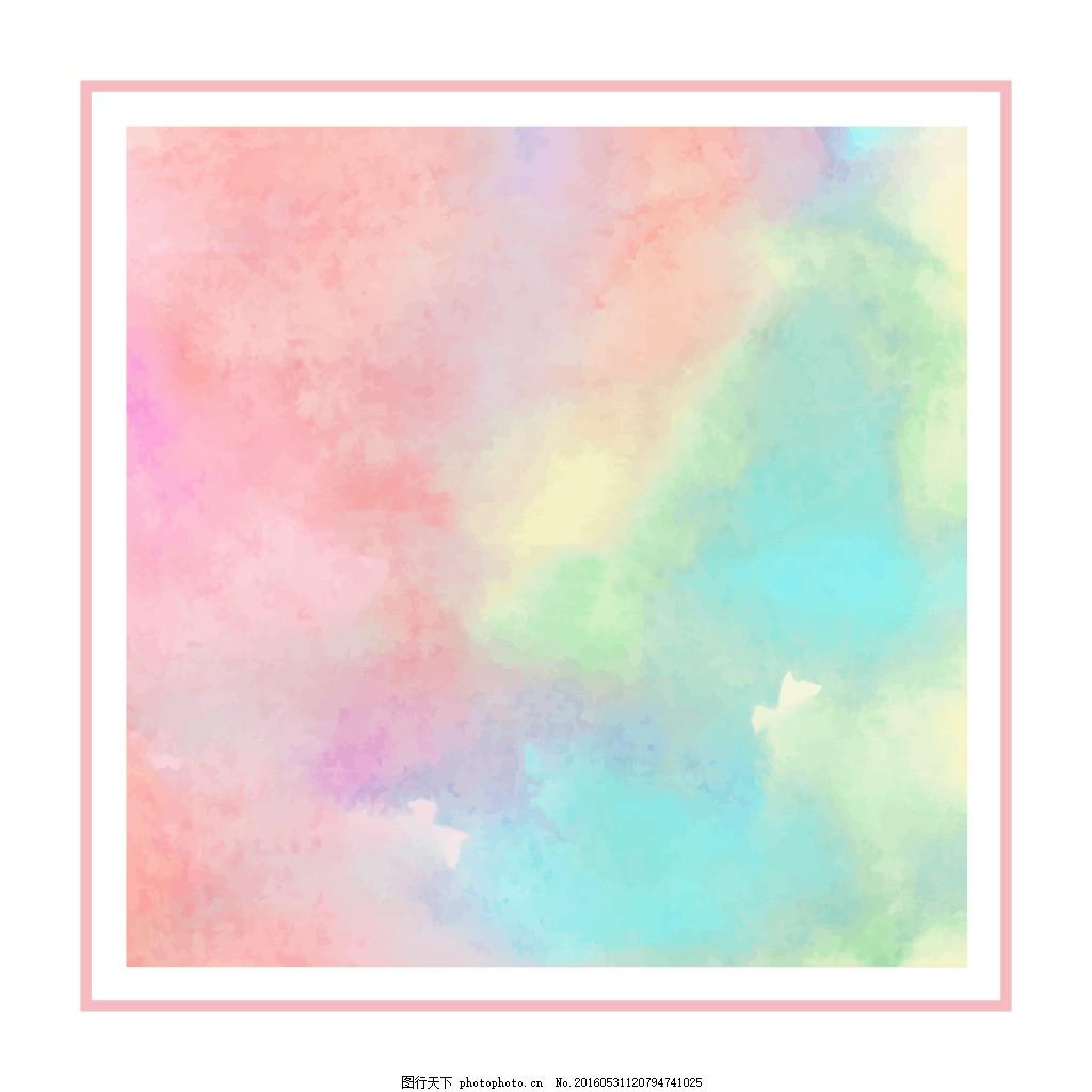 彩虹渐变 彩虹 渐变 线框 水彩 简单 粉色 清新 少女 干净 极简
