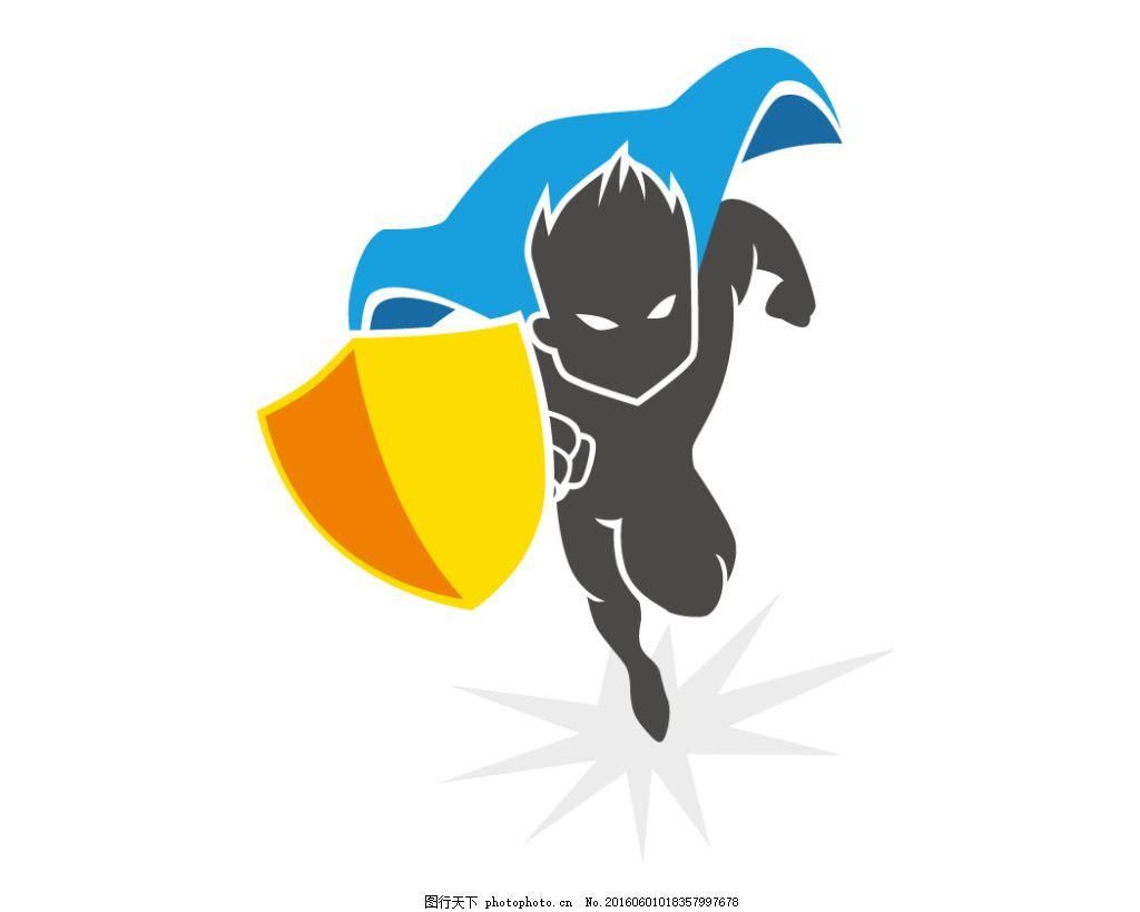 奔跑的卡通超人 盾牌 卡通超人 卡通插画 可爱卡通 卡通插图 日常生活