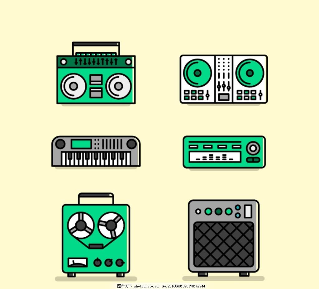 老式录音机图标矢量