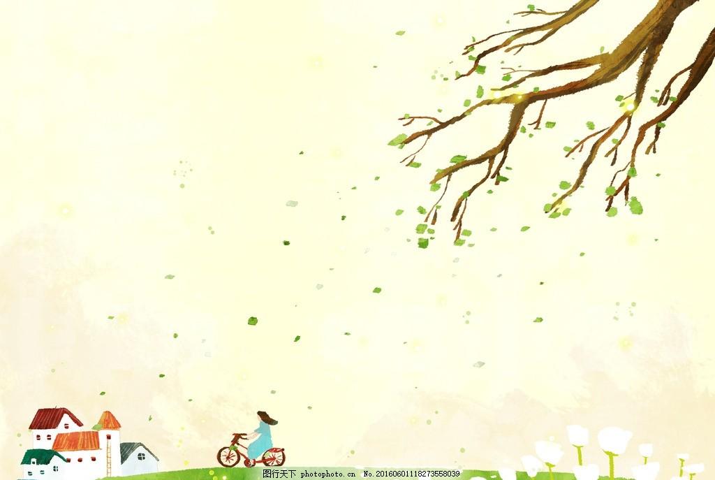 树 春景 乡村景色 田园风光 春天绘画 春季广告 橱窗设计 彩粉画 蜡笔
