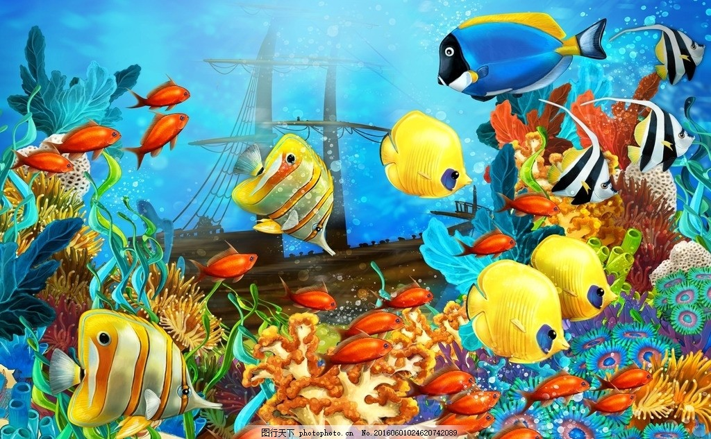 手绘金鱼 手绘小丑鱼 手绘 手绘海底世界 海底 鱼类 鱼类大全 海 鱼群