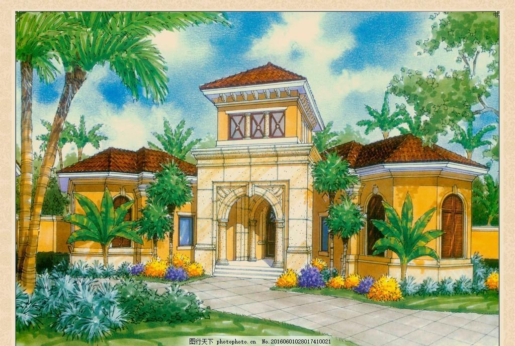 别墅手绘效果 建筑 别墅 手绘 效果 设计 欧式 坡屋顶 棕树 绿化 植物