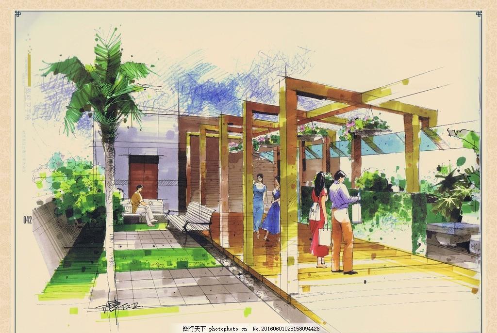 城市公共空间手绘效果,廊柱 地板 草坪 铺装 座椅-图