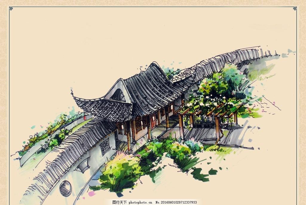 古典园林景观手绘效果 建筑 园林 古典 苏州园林 中国风 手绘