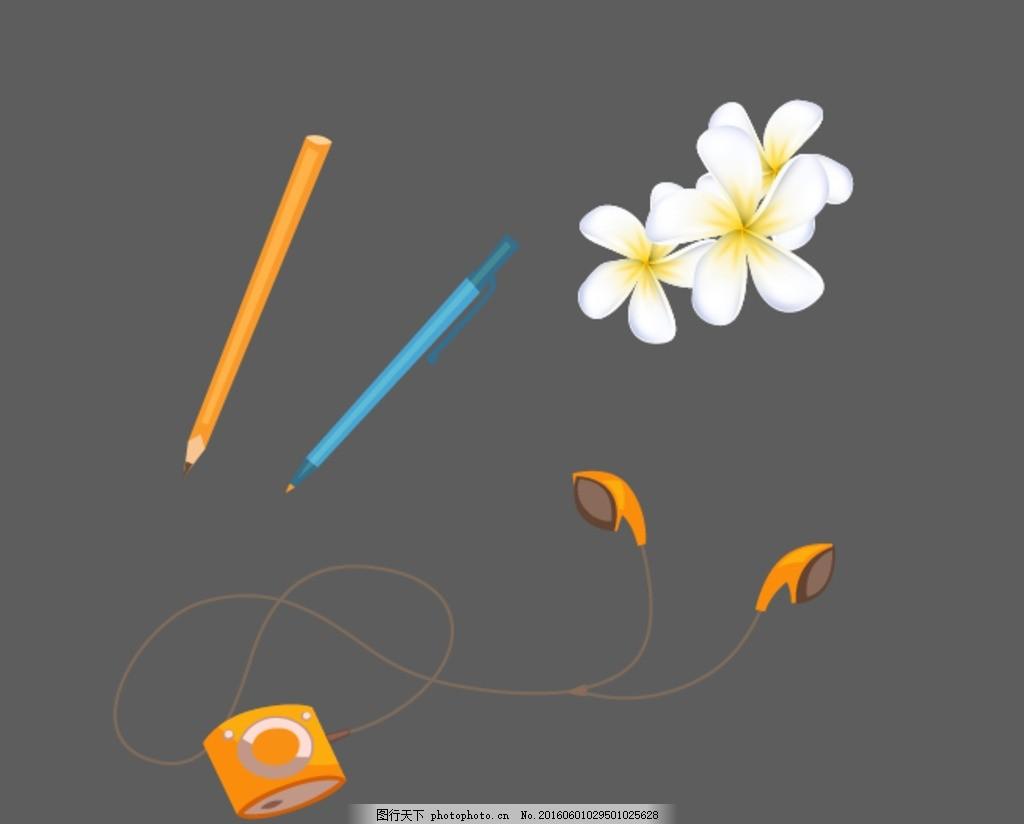 卡通铅笔 矢量铅笔 彩色铅笔 彩笔 矢量白色花朵 白色鲜花花朵 茉莉花