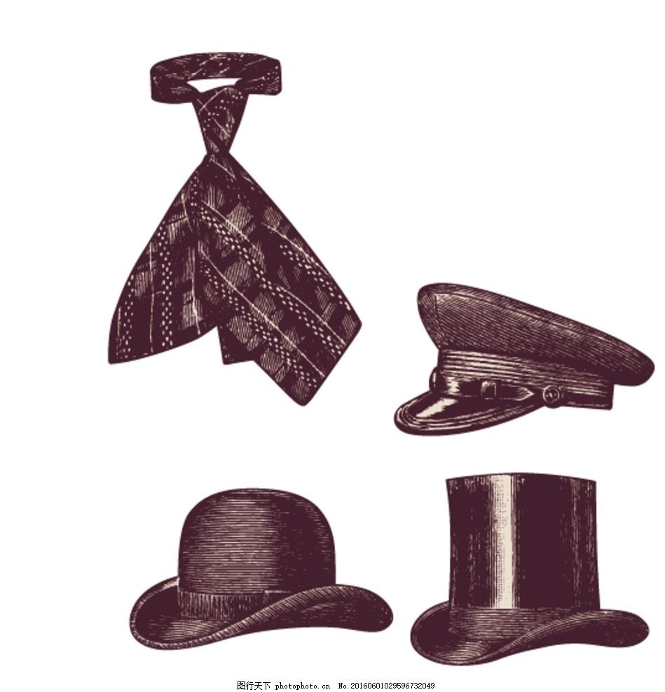 复古帽子 手绘 矢量素材 欧式素材 复古素材 古典怀旧 欧洲 手绘怀旧