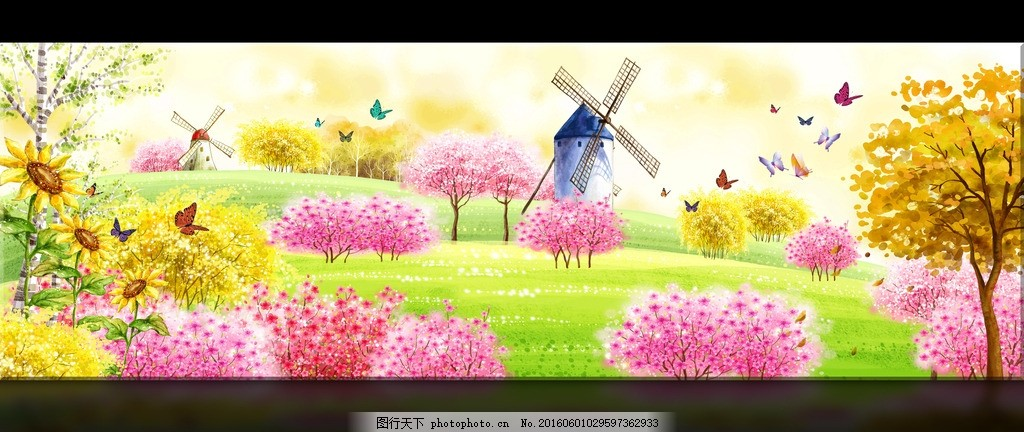 春天风景水彩画 图片下载 春天桃花林 无框画 手绘 水粉画 蝴蝶