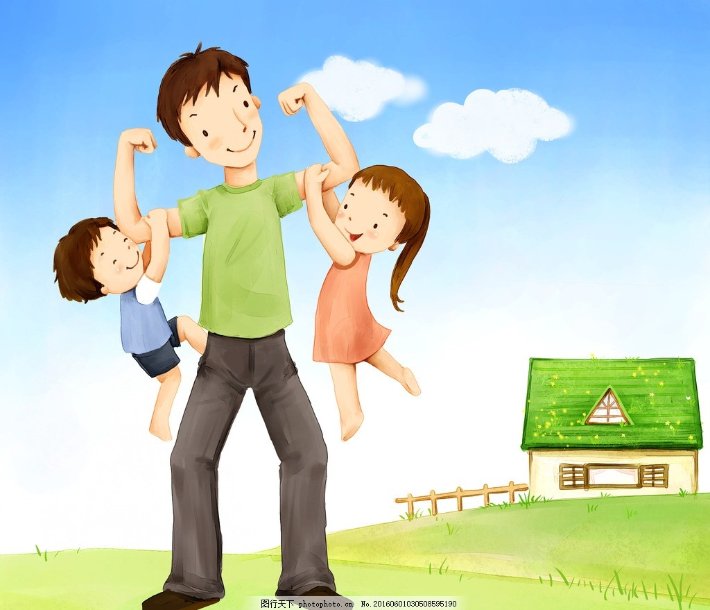 手绘卡通家庭人物 手绘 卡通 可爱 人物 家庭 一家人 小朋友 小孩