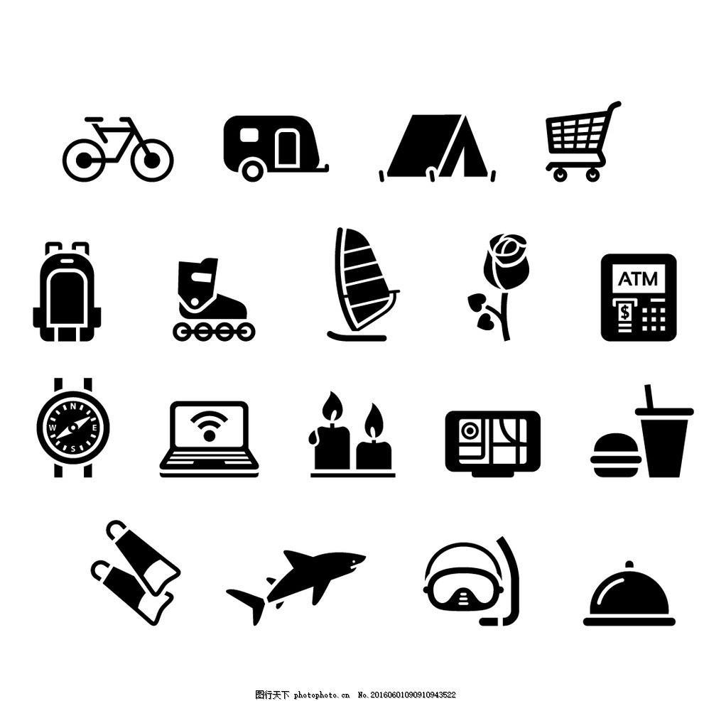 生活图标素材 矢量素材 矢量图 手绘素材 自行车 单车 玫瑰花 购物车