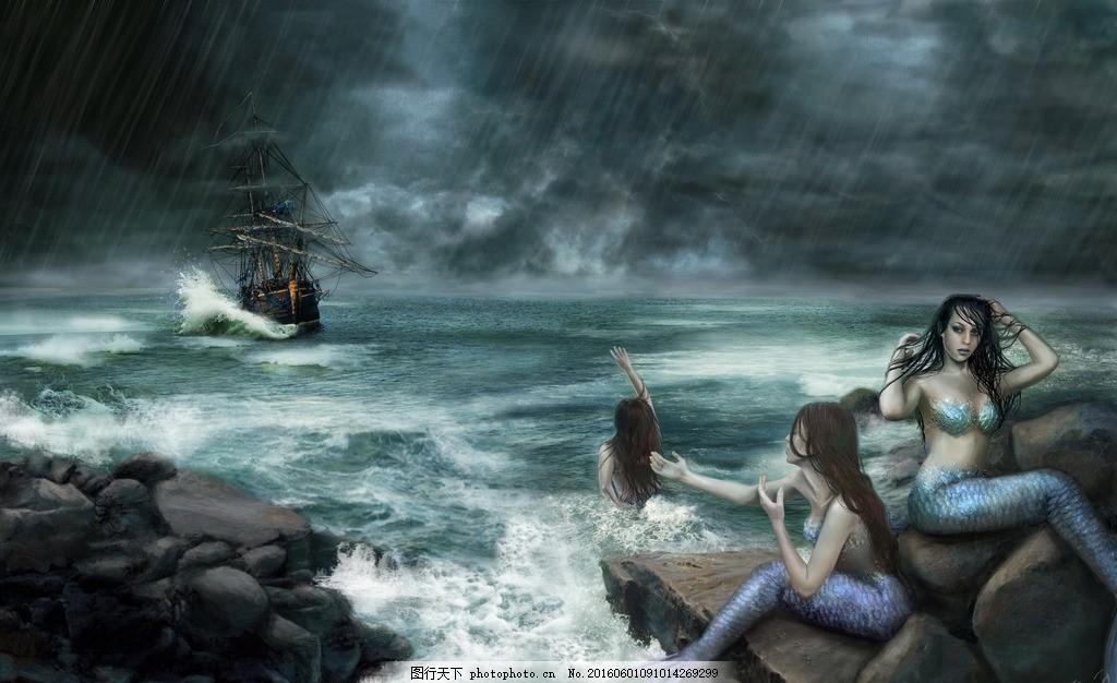 美人鱼 美女 模特 大海 海边 海岸 岩石 渔船 海浪 人物图库
