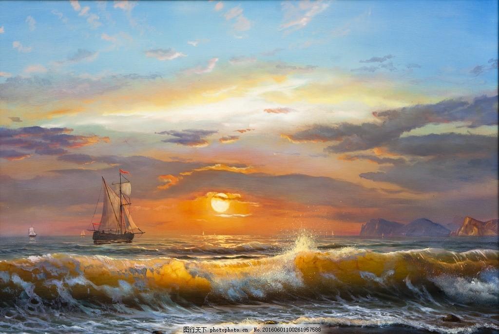 大海 油画 印象派 日出 海浪 海洋 帆船 海滩 绘画书法 文化艺术