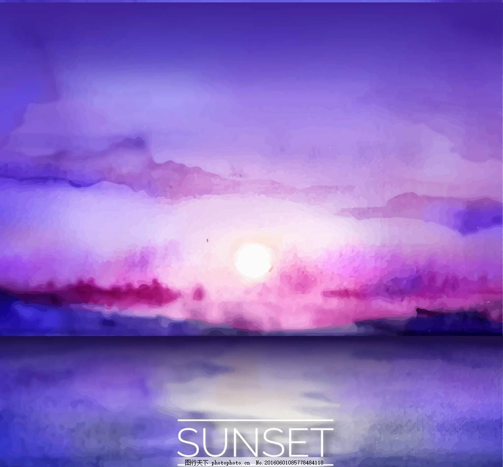 水彩画日落的海 风景
