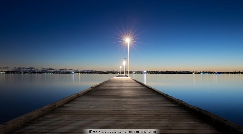 高清夜晚海边风景图片下载 夜色 夜晚 大海 海边 木桥