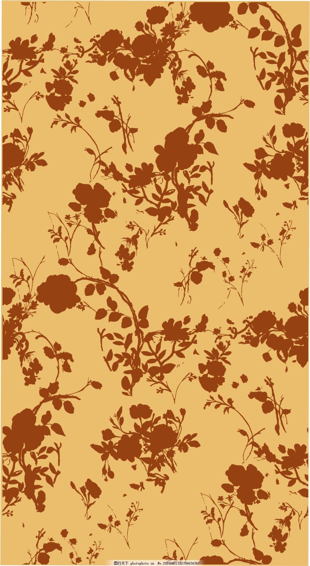 斑驳花草图案复古风图案