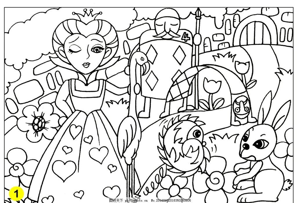 涂鸦 线稿 涂色 手绘 上色 卡通 幼儿 简笔画 卡通画 白雪公主