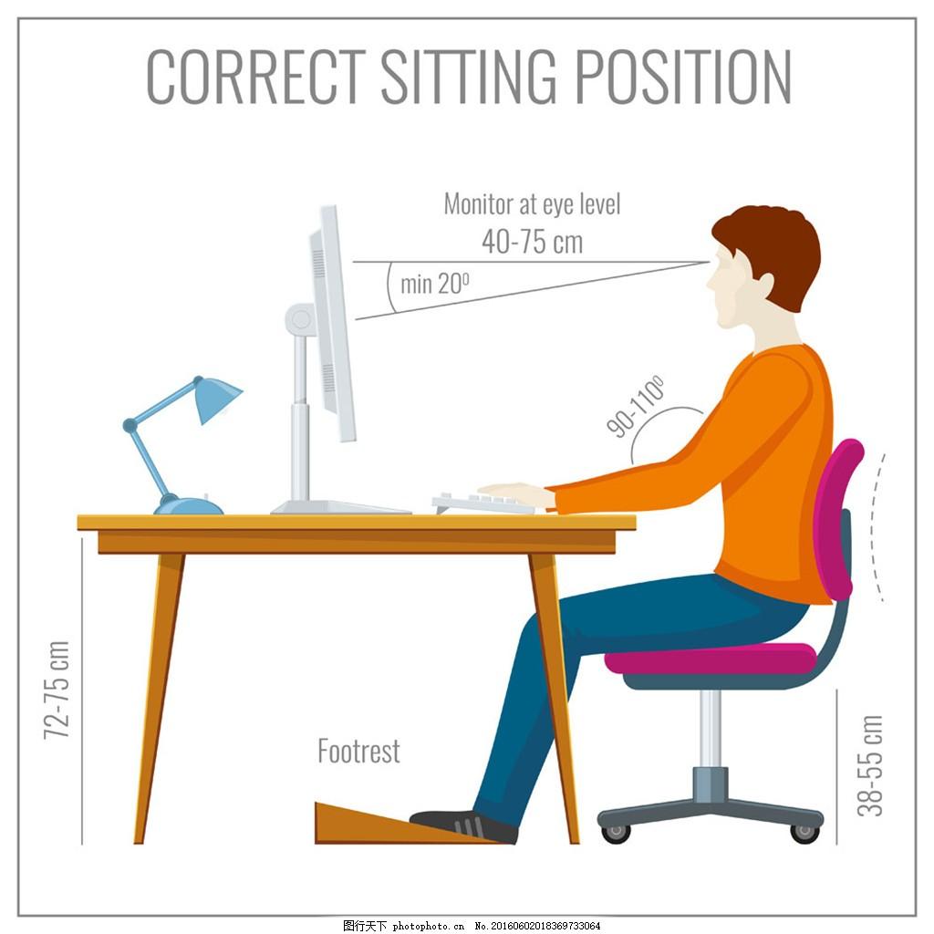 正确坐姿示意图图片