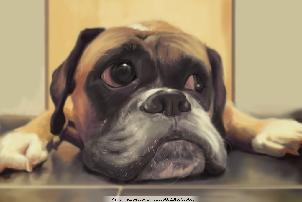 狗狗 狗 渴望 想念 ps手绘 哈巴狗 设计 动漫动画 其他 300dpi jpg