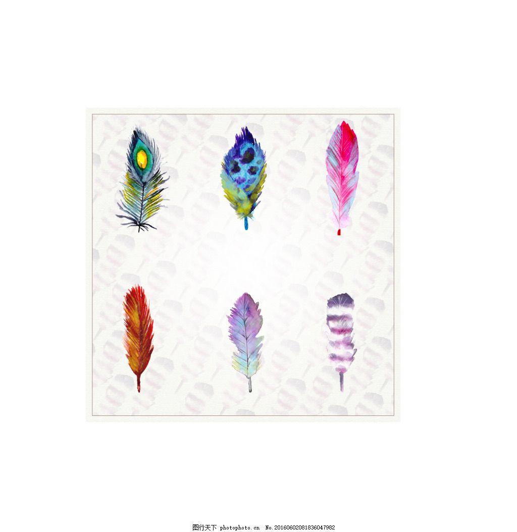 羽毛水彩风 可爱动物 ai 素材 矢量图 动物 ai
