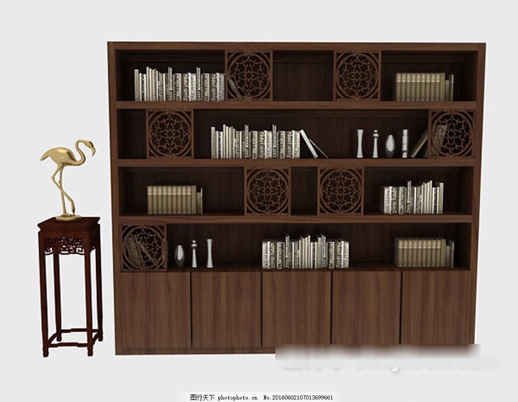中式古风书柜3d模型下载 3d模型 3d模型下载 模型 欧式风格 室内设计