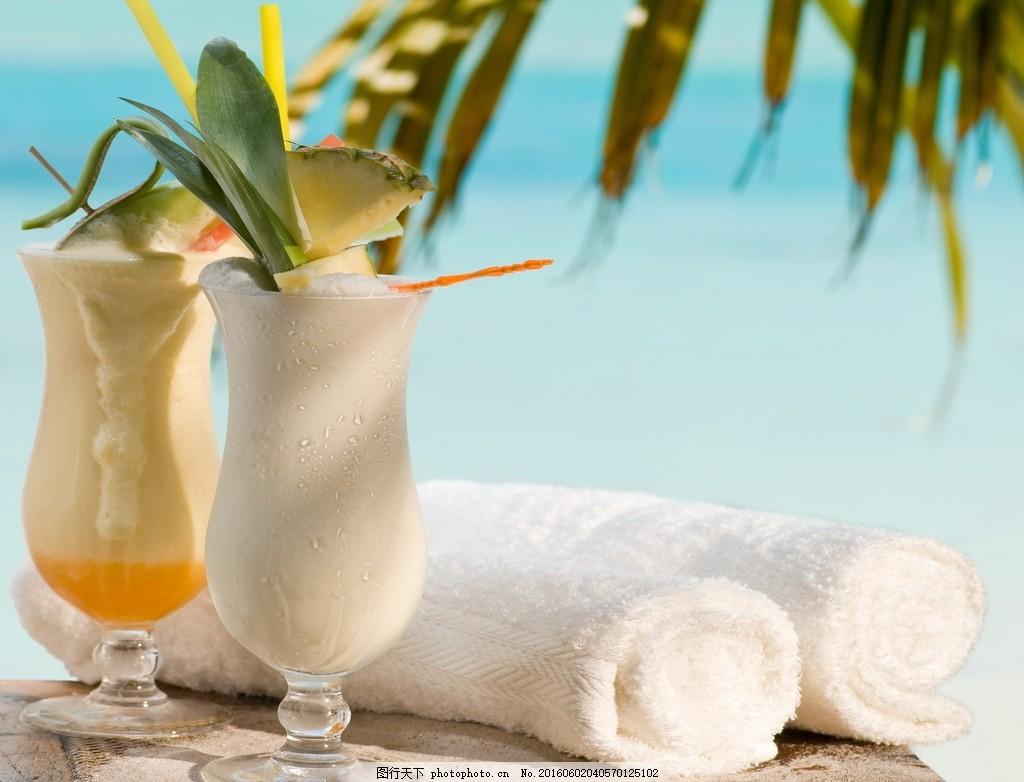 海滩 海边 毛巾 椰子树 沙滩 水果 冷饮 夏天 杯子 吸管 椰汁 菠萝