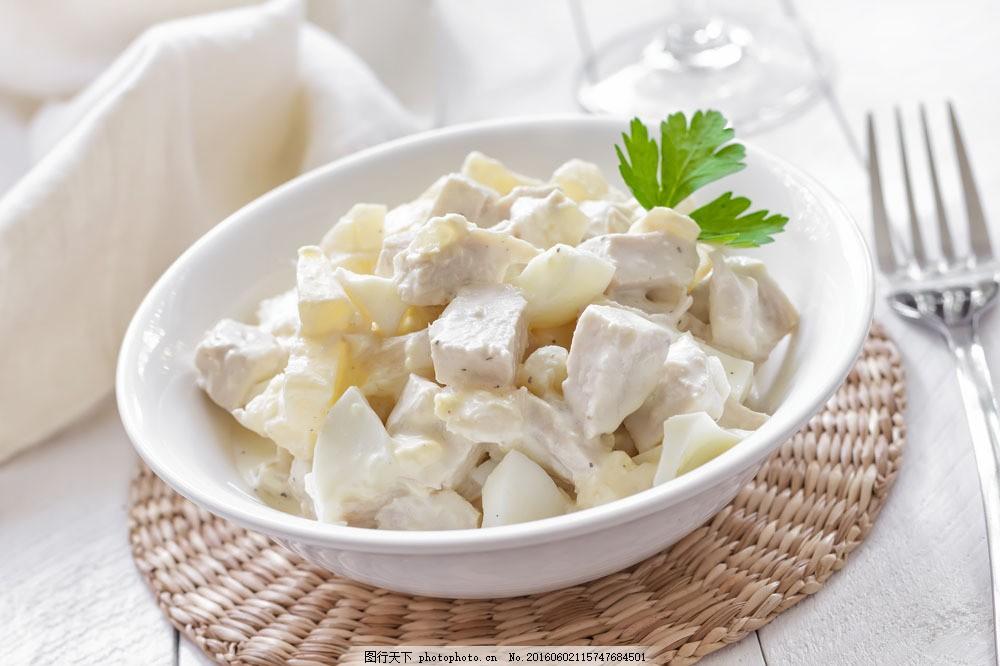沙拉美食 沙拉美食图片素材 国外美食 美味 叉子 食材原料 餐饮美食