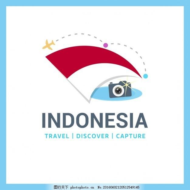 去印度尼西亚旅行 背景 标志 标签 徽章 地图 世界 国旗 日本