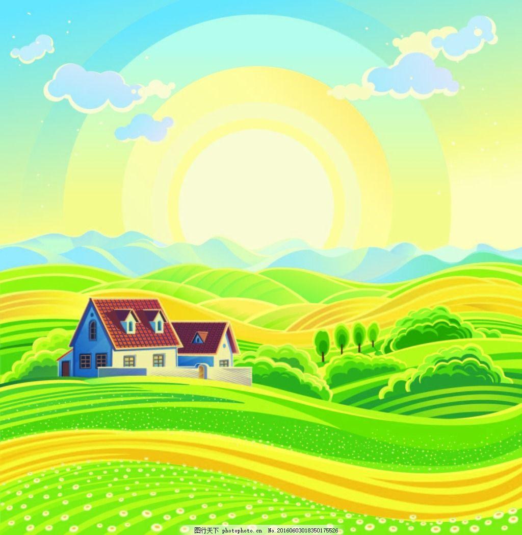 农园 云 阳光 绿色 路 房子 树山 蓝色 卡通 卡通风景 卡通农园