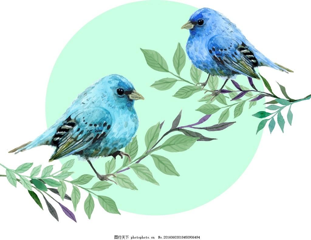 可爱的小鸟 飞鸟 绿叶 鸟儿 卡通画 油画 设计之家 动漫动画
