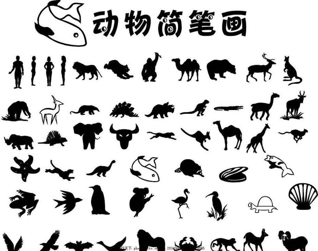 儿童相册 画册 动物简笔画 动物 黑白 卡通 简笔画 教辅用图 线条画