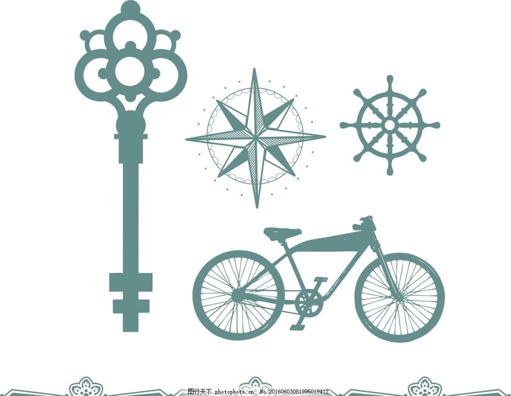 古代钥匙 自行车 古典花纹边框 矢量素材 欧式素材 复古素材 古典怀旧