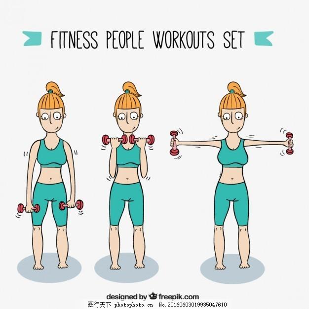手绘运动女孩做练习 手 运动 健身 健康 健身房 手绘 性格 人 画 训练