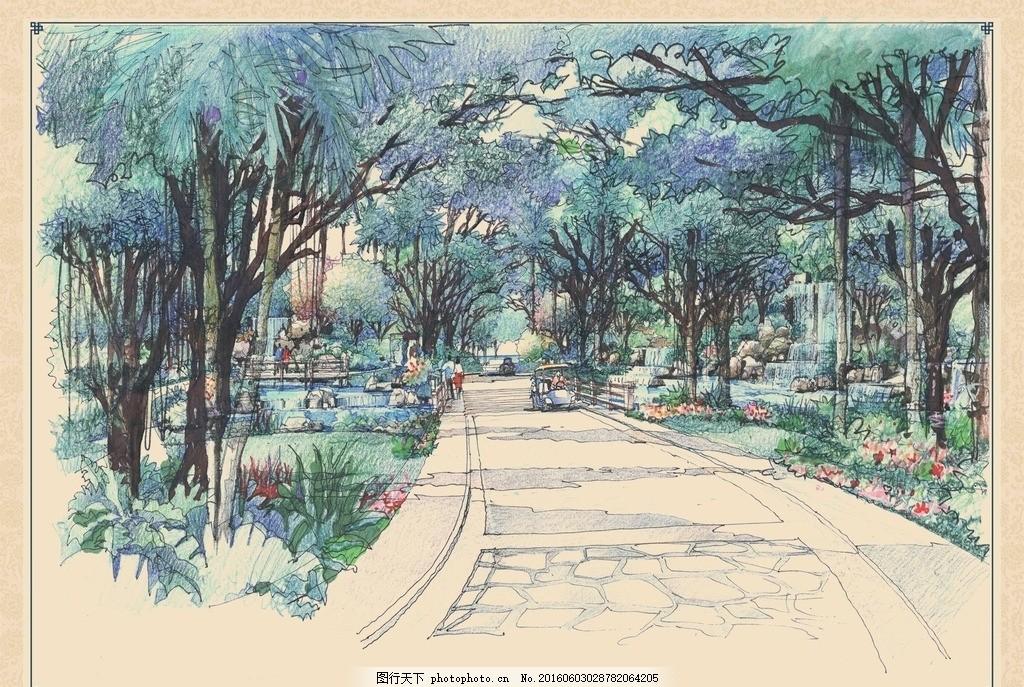 公园林荫道手绘效果 景观 园林 公园 林荫道 道路 树林 植物 绿化