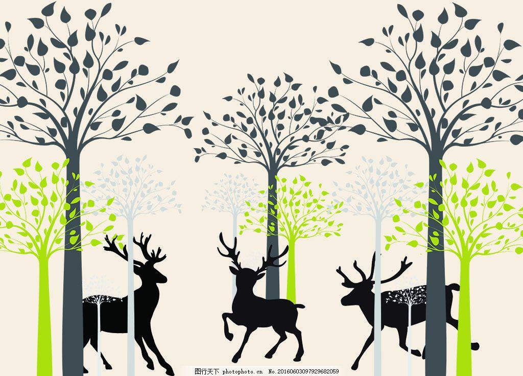 抽象树鹿背景墙 抽象树 树林 鹿 手绘 背景墙