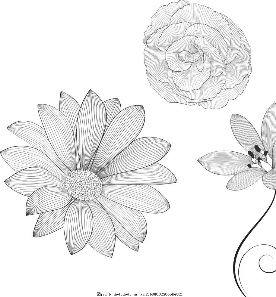 花朵素描,卡通素材 可爱 手绘素材 矢量 抽象设计-图