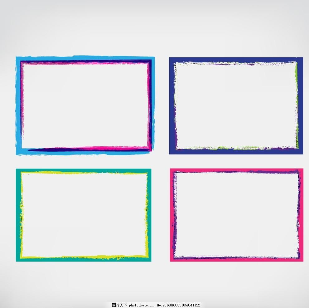 彩色手绘相框 画框 水彩 手 框架 油漆 颜色 彩色 收集 画 上色 彩绘