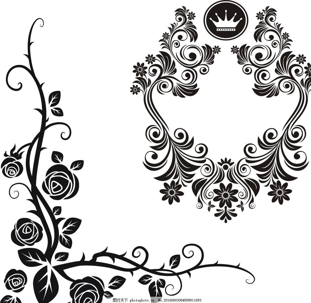 玫瑰花藤 复古花纹边框 古典 花边 怀旧 复古 欧式 装饰花纹 时尚