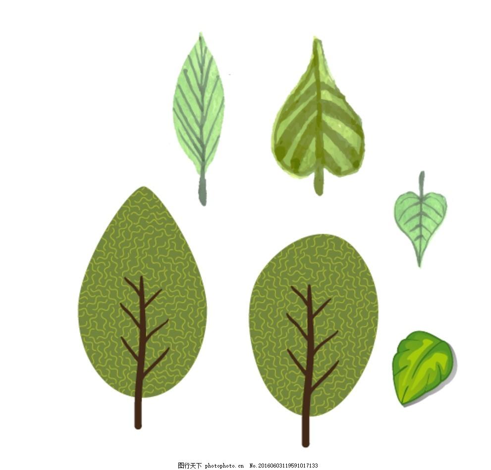 手绘树木 绿色树叶 卡通素材 可爱 手绘素材 儿童素材 幼儿园素材
