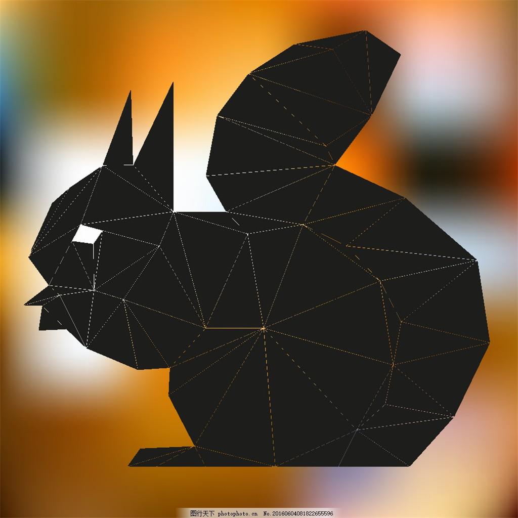 三角形抽象松鼠 三角形动物 卡通松鼠 松鼠插画 松鼠图案 可爱动物