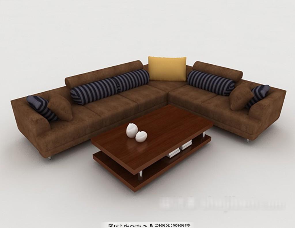 新中式组合沙发3d模型下载,现代风格模型 欧式风格-图