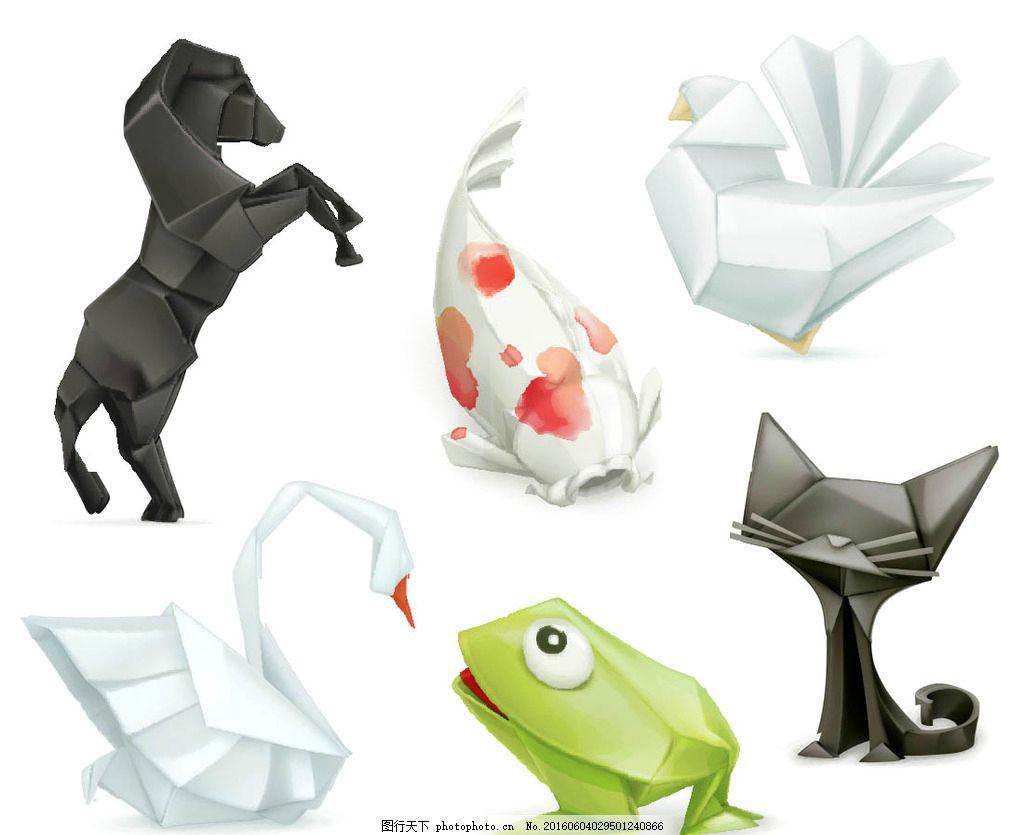卡通动物折纸元素