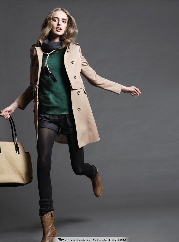 模特 性感美女 美女写真 服装模特 时装模特 风衣 手提包 包包 皮包