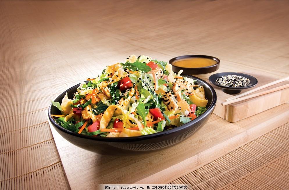 设计图库 高清素材 食品饮料  鸡肉蔬菜沙拉 西式美食 西餐 前菜 美食图片