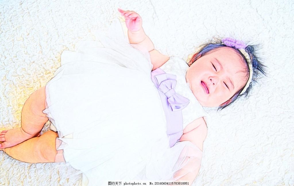 女婴 哭泣 手绘 幼儿 胖娃娃 小孩 可爱 女宝宝 摄影 人物图库