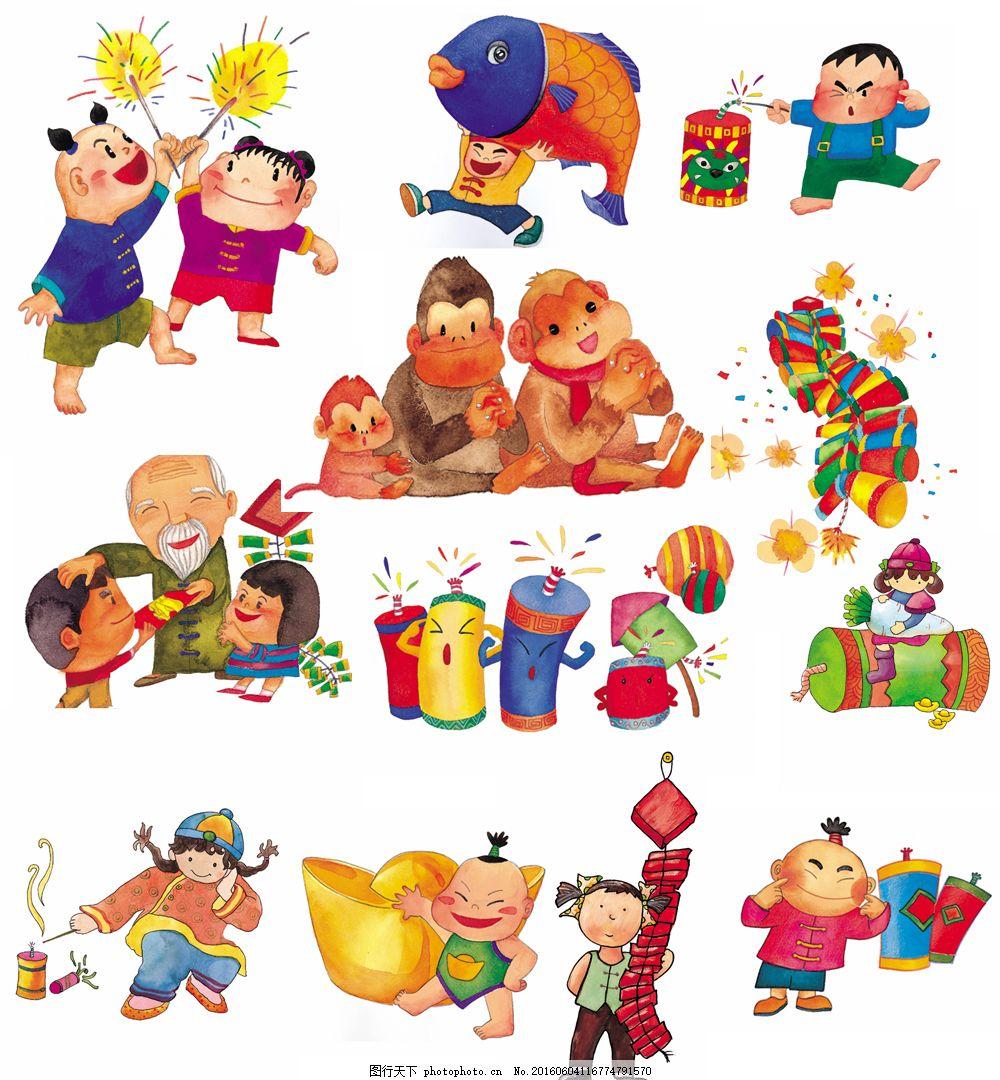 可爱卡通新年背景图片下载 放鞭炮 猴子 元宝 红包 可爱