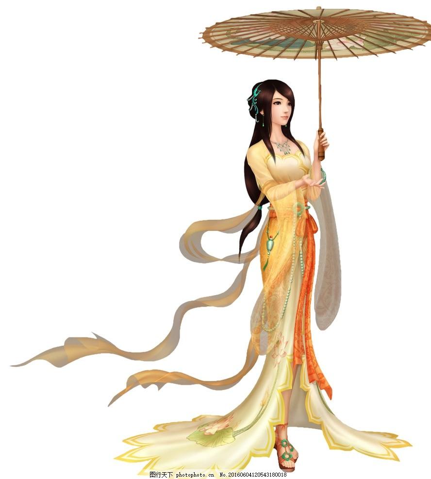 游戏人物 古装美女 伞 莲花 裙子 游戏人物 设计 广告设计 广告设计