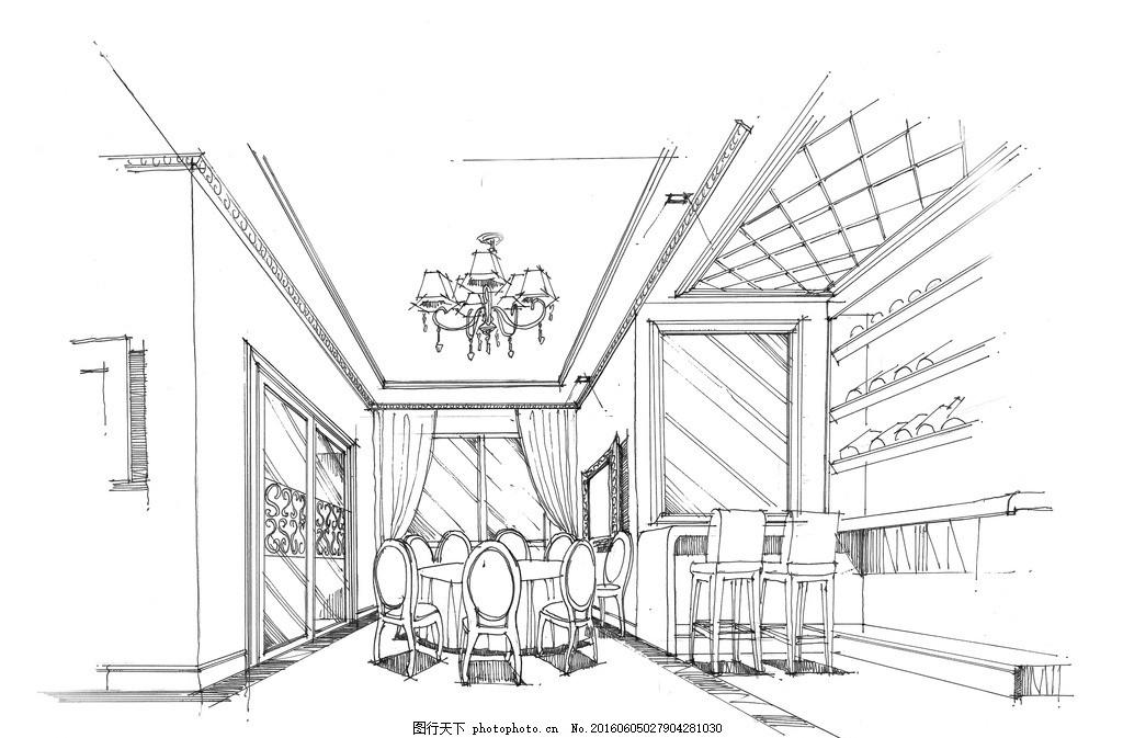 手绘欧式餐厅 手绘 线稿 简约 欧式 餐厅 室内设计 设计 环境设计